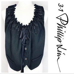 3.1 Phillip Lim Black Eyelet Ribbon Tie Wool Vest